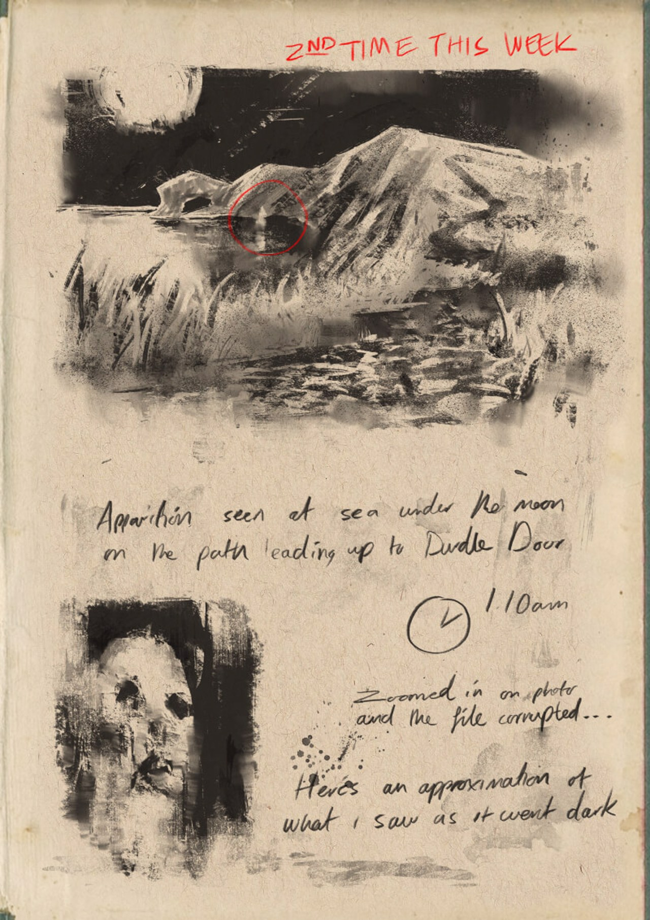 notebook sketches of sightings