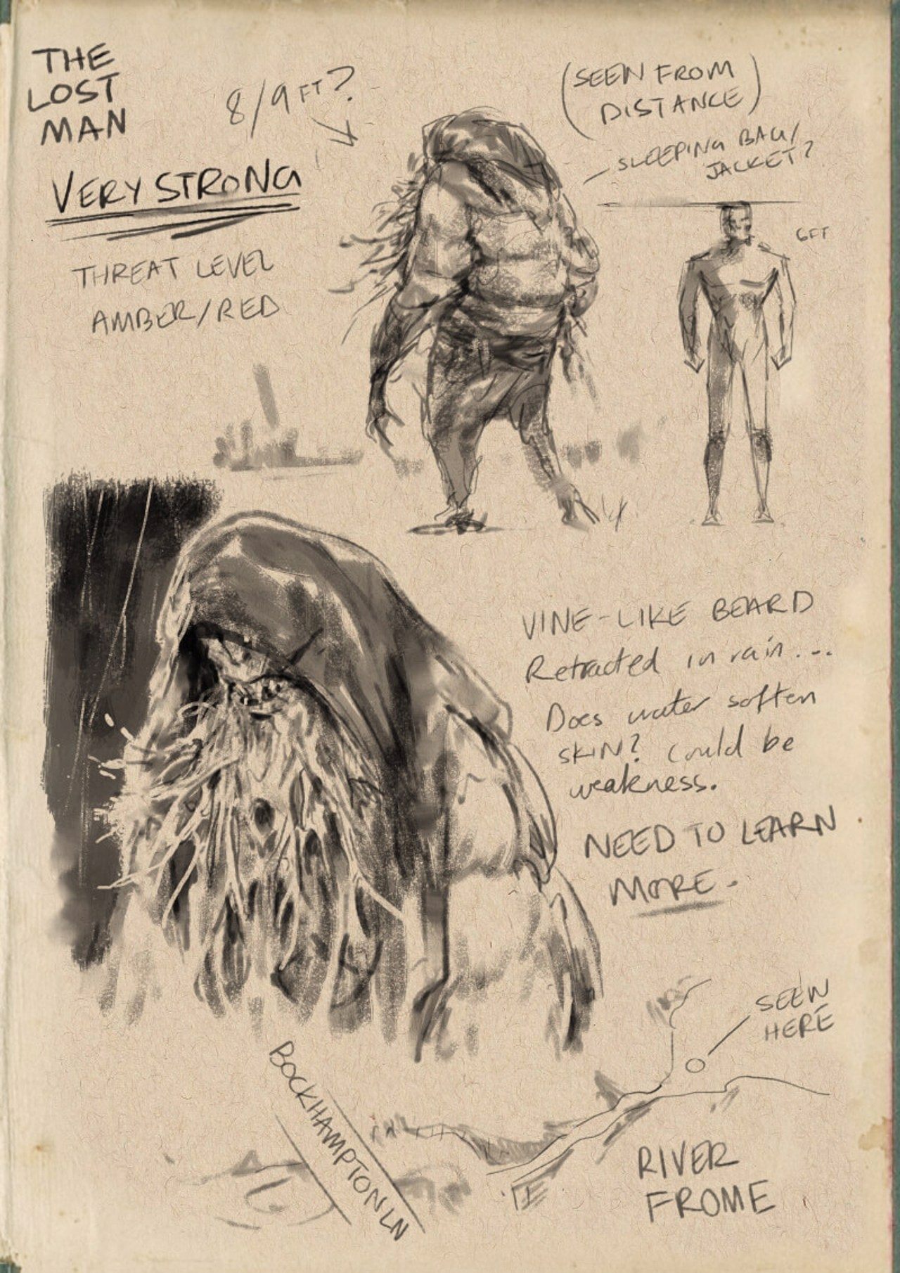 notebook sketches of creatures